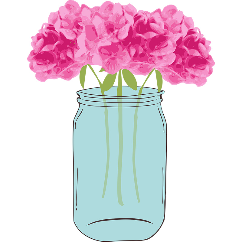 Floral Vector with Mason Jar Clip Art | Pixel Candy Paperie